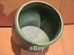 Arts & Crafts Weller Green Matte Glaze Footed Pottery Pot