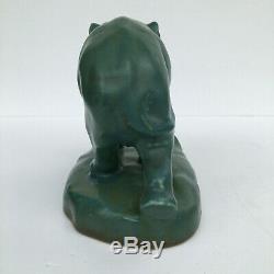 Arts & Crafts XXI 1921 Rookwood Art Pottery Elephant Bookend # 2444D Green Blue