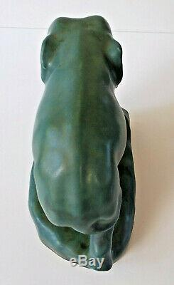 Arts & Crafts XXI 1921 Rookwood Art Pottery Elephant Bookend # 2444D Green Blue