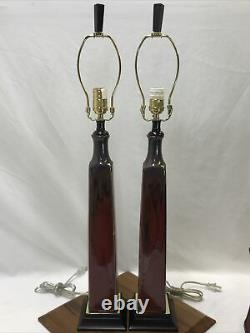 BOMBAY Vtg Pair Drip Glaze Pottery Buffet Lamps Arts & Crafts Deco MCM Red Brown