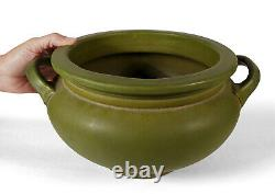 Big Antique Roseville Matte Green Arts Crafts Pottery Urn Vase Jardiniere 550-7