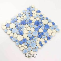 Blue White Pebble Mosaic Tile Ceramic Wall Art Sheet Swimming Pool Floor(11 PCS)