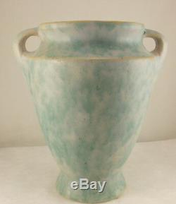 Burley Winter Arts and Crafts Handled Vase Green Blended Matte Glaze Vintage