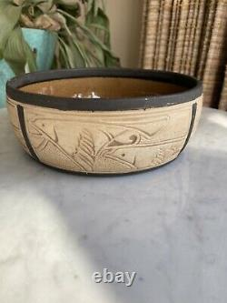 Burntwood Eagle Falcon Weller Pottery bowl Arts Crafts-Mission style