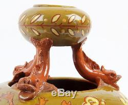 C. H Brannam 1894 Double Gourd Arts and Crafts Pottery Vase Dolphin Supports