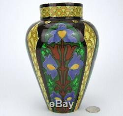 C1900 Wileman Foley Arts & Crafts English Pottery Vase INTARSIO Frederick Rhead