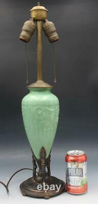 C1910 Arts & Crafts Green Pottery Table Lamp Early Deco Mounted Metal Base