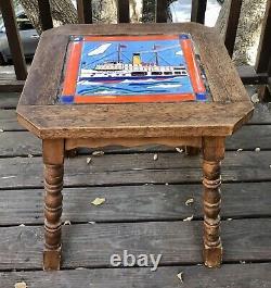 CALIFORNIA ARTS & CRAFTS CERAMIC TILE Teak TABLE MONTEREY Catalina Palisades Art