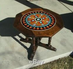 California octagon Mission Arts & Crafts art pottery tile mahogany side table