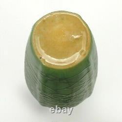 Cambridge Pottery matte green arts & crafts web alligator glaze design vase
