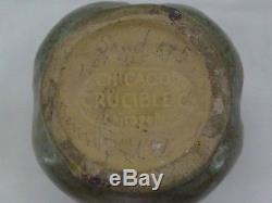 Chicago Crucible Arts & Crafts Pottery Mottled Green Glaze Vase Scarab