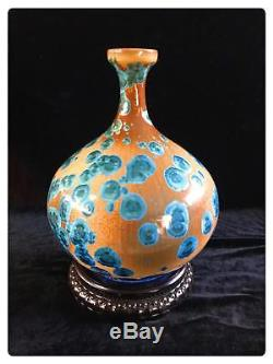Chinese Flambé Crystalline Glaze Ceramic Mordern Art Pottery Vases Collectibles
