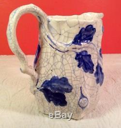 Dedham Pottery Oak Block PitcherArts & Crafts Crackle Wareca 1929+ RAREEUC