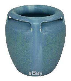 Door Pottery Four Handled Mottled Blue Arts and Crafts Vase