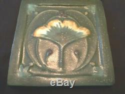 EPHRAIM Faience Pottery Ginkgo Leaf Tile Arts & Crafts (6)