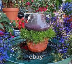 EVE vtg arts & crafts vase haeger art deco pottery 2handle squatty majolica drip