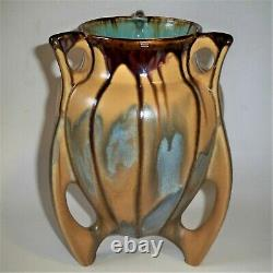 Early Arts & Crafts Belgium Thulin Studio Futuristic Pottery Vase with Buttresses