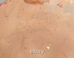 Early Pewabic Arts & Crafts Pottery Iridescent Glazed Face Tile
