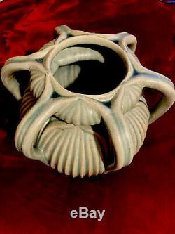 Fabulous Huge Grueby Handled Arts & Crafts Green Styli Leaf Art Pottery Vase 13