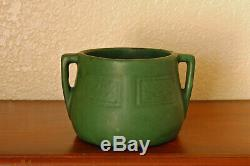 Fantastic Antique Weller Pottery Arts Crafts Bedford Matte Green 2-Handled Bowl