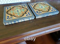 Flint Faience Tile Co. USA Arts & Crafts Architectural Pottery Matching Pair WOW