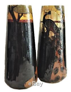 Frederic Rhead, A Pair of Arts & Crafts Terracotta Vases with Peacocks, Ca. 1900