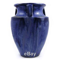 Fulper Arts & Crafts 530 handled bullet vase blue & green flowing glaze