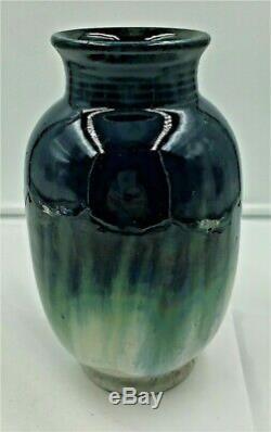 Fulper Pottery Tall Arts & Crafts Vase Mirror Cobalt Glaze Over Green & Blue
