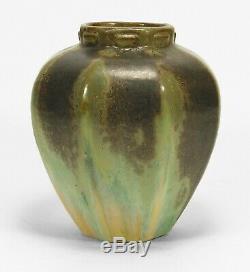 Fulper Pottery octagonal vase crystalline brown over green cream arts & crafts