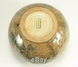 Fulper Pottery spherical vase curdled brown over blue shape 61 arts & crafts
