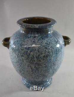 Fulper Two Handle Arts And Crafts Pottery Vase Crystaline Glaze Blue / Brown 12