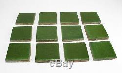 Grueby Pottery 12 tiles matte green arts & crafts good 4 Gustav Stickley table