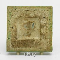 Grueby Pottery Faience 4x4 white rabbit & cabbage tile Arts & Crafts matte green