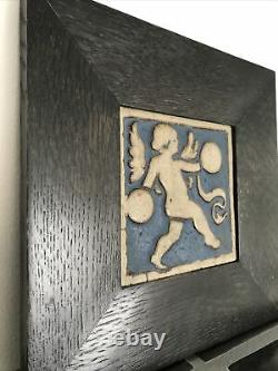 Grueby Pottery Rare Blue Angel Tile Arts & Crafts Boston 6 Framed