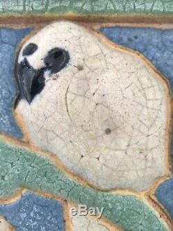 Grueby Pottery Rare White Parrot Tile Arts & Crafts Boston 6