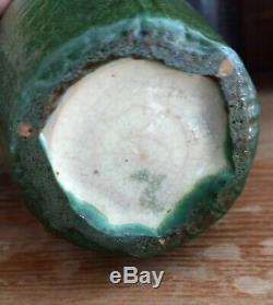 Grueby Pottery Vase Massachusetts Arts & Crafts Leaf Design Matte Glaze