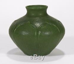 Grueby Pottery dark matte green 7 leaf squat vase Arts & Crafts Boston