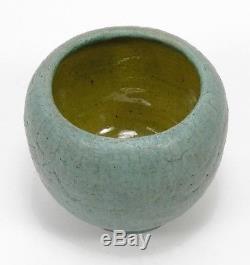 Grueby Pottery matte curdled blue green spherical vase Arts & Crafts Boston