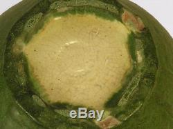 Grueby Pottery matte green large vase 3 curled leaf handles Arts & Crafts Boston