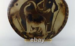 Gunnar Nylund for ALP Lidköping. Unique hand crafted Art Deco Flambé lidded jar