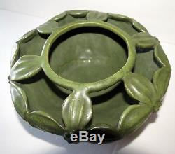 HEAVY! Wheatley Pottery Arts and Crafts Matte Green Vase / Flower Frog