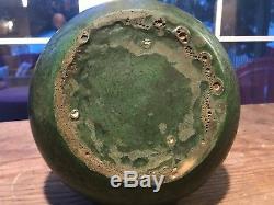 HEAVY! Wheatley Pottery VASE Arts and Crafts Matte Green Leathery Foamy Glaze