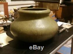 HUGE Roseville Early Carnelian Matte Green Vase Arts & Crafts Pottery 1915 MINT