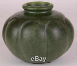 Hampshire Matte Green Arts And Crafts Pottery Vase Unusual Shape