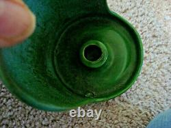 Hampshire Pottery Arts and Crafts Matte Green Candle Holder, Signed, Circa 1910