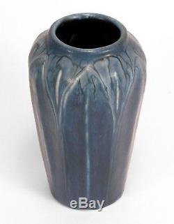 Hampshire Pottery matte blue glaze arts & crafts 6 leaf & bud vase grueby form