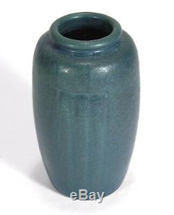 Hampshire Pottery matte blue green 3 panel curdled snake glaze arts & crafts