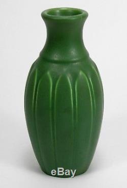 Hampshire Pottery matte green glaze arts & crafts bottle shape leaf vase