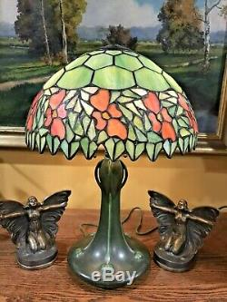 Handel Arts Craft Leaded Slag Glass Hampshire Pottery Bradley Hubbard Era Lamp