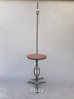 Iron Monterey Tile Table Floor Lamp 1930 Mission Arts Crafts Ceramic California